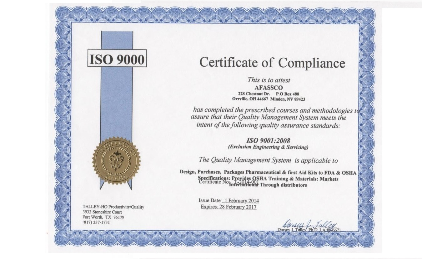 Company we were the first to be awarded the iso 9000 certification afassco guarantees our customers quality of product and service with the xflitez Images